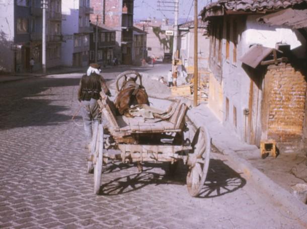 1973: Main street in my town, Mustafakemalpasa, Turkey, brimming with donkeys, carts, and wayward sheep.