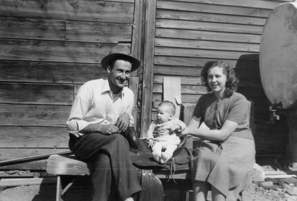 My parents prop my brother on a saddle. He's now an Oscar-winninganimator in L.A. (Northeastern Montana, 1953)