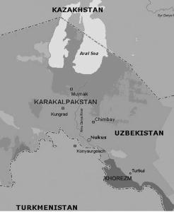 Karaklpakstan, Uzbekistan borders the Aral Sea.