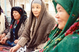 Call to prayer ends at mosque in Bukhara, Uzbekistan. (Nov 1990)