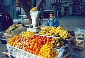 Once hard to find, fruit is now plentiful (Moscow, Russia 1993)