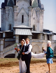 Weddding party at Kolomenskoye, the Tsar's summer palace. Moscow May 1993