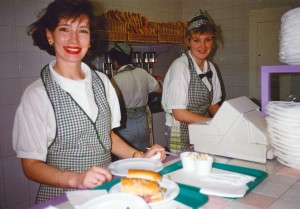 Making sandwiches at popular Kombi's, a Spanish/Russian joint venture. (Moscow, Russia 1993)