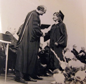 One of the happiest moments in my life: receiving my Ripon College diploma from President Adams. (Ripon, Wisconsin)