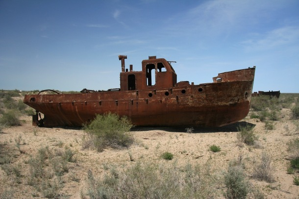 Abandoned ships once floated in the Muynak harbor; today it is nearly 100 miles aways <br>Photo credit: Fotopedia, free use</br>