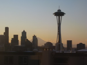 Seattle view: Space Needle & Mount Rainier