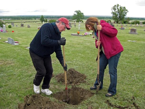 Digging Dad's grave