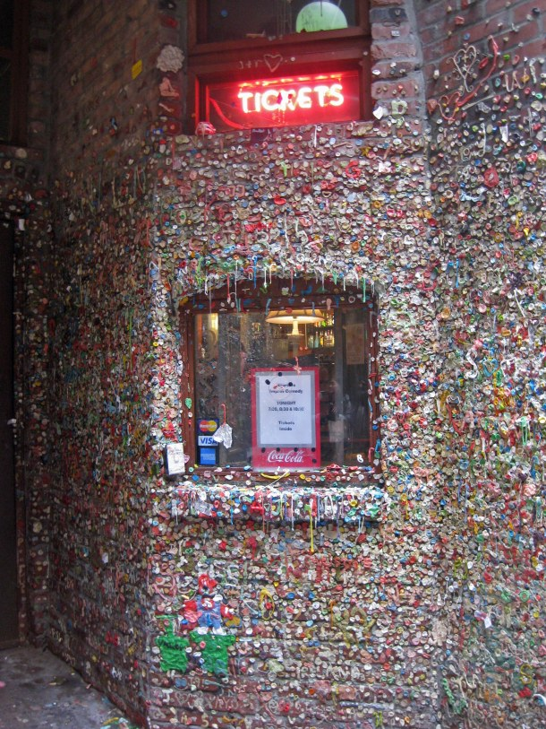 A sticky situation, buying tickets at Market Theater – now covered in chewing gum <br>Photo copyright: Helen Holter