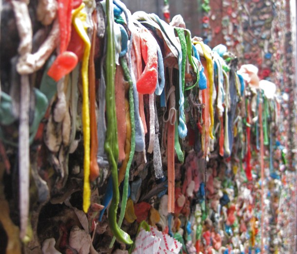 There's beauty in everything, even recycled gum – here at Seattle's Gum Wall. Photo copyright: Helen Holter