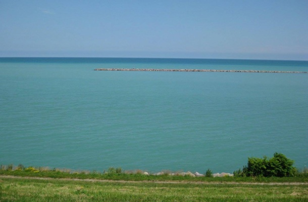 Lake Michigan shoreline in our family's new town – Racine, WisconsinPhoto credit: Holter Family Collection