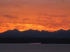 Seattle sunset, winter-nearing-spring