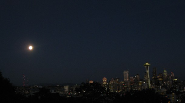 Space Needle blue moon