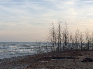 """Fall edges into winter on the Wisconsin shores of Lake Michigan. This was a """"secret place"""" I'd bike to and write in my journal, sitting on the rocks looking out... and beyond..."""