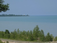In the distance: Wind Point Lighthouse, one of my favorite biking destinations when I lived in Racine.