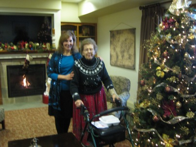 "Christmas at the assisted living residence in Racine, Wisconsin; Mom refers to it as ""Downton Abbey."" (The photo's a bit blurry – shot by a busy but patient nurse!)"