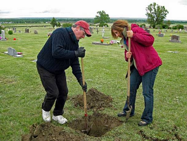 My brother – an Oscar-winning Hollywood animator – and I do the hard work of digging our dad's grave in the family plot in northeastern Montana <br>Photo credit: Holter Family Collection</br>