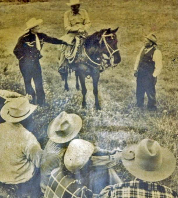 My Grandpa Lute, relatives, and buddies work a Montana cattle roundup in 1951 <br>Photo credit: Holter Family Collection</br>
