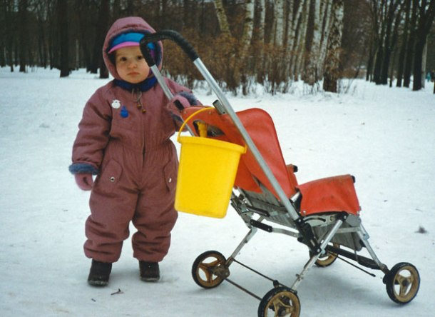 Shy toddler strolls in Moscow park near my apartment, Christmas 1993 <br>Photo credit: Helen Holter</br>