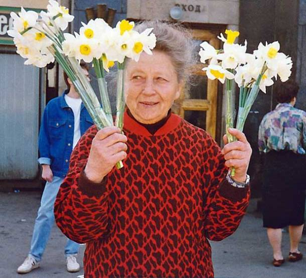 Moscow, Russia, flower lady, daffodils
