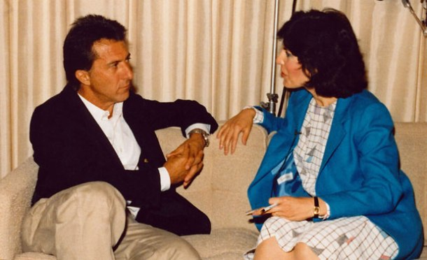 "I'm interviewing my heartthrob, Dustin Hoffman, in ""Death of a Salesman"" - my favorite American play (New York City)"