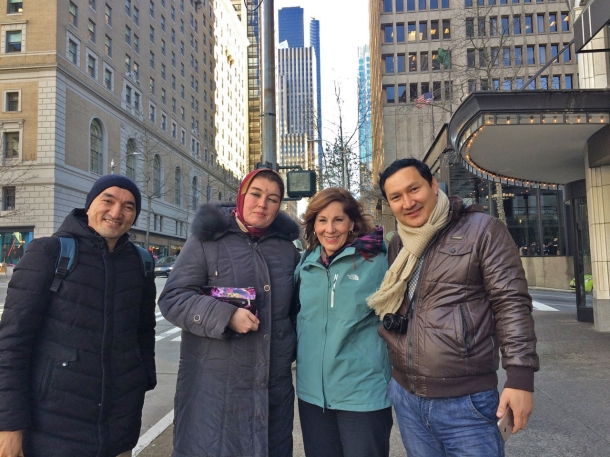 We are walking UPHILL back to the hotel, more than 5 miles of walking around Seattle – so fun! <br>Sanjar Said, Nigora Umarova, Helen Holter, Elyorjon Ehsonov</br>