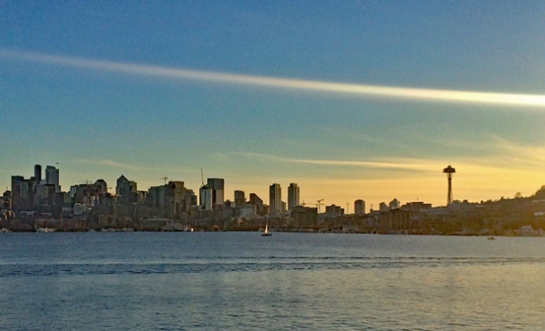 January 1, 2018: the ever-changing Seattle skyline against a New Year's Day sunset <br>Photo credit: Helen Holter </br>