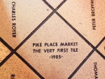 "Despite the holiday crowds, we found ""The Very First Tile"" in Pike Place Market, one of 55,000 tiles. Each donor paid $35 in 1985 and 1986 to help save the Market from demolition Seattle, Feb 17, 2018"